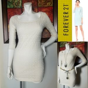 Lace Bodycon Off White Mini Dress Sexy Boho Cali M